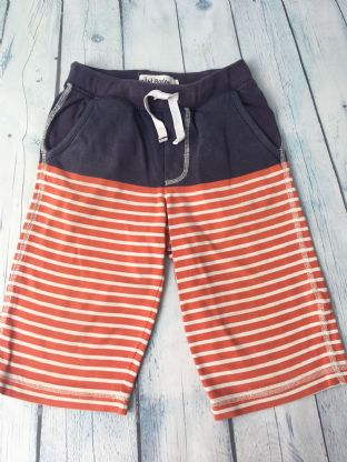 Mini Boden navy/red and white striped long shorts age 5-6